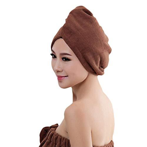 Microvezel Haar Turban Wrap 2 Pack, Snel Droog Haar Handdoek Wrap Turban voor het drogen Krullend, Lang & Dik Haar om Haar te beschermen Koffie