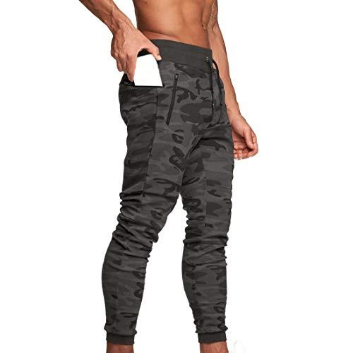 Pantaloni Sportivi da Uomo Pantaloni da Jogging Sportivo Fitness Pantaloni di Tuta Slim Fit Pantaloni per Il Tempo Libero Palestra Elastico Vita Cordino (Camouflage Grigio, L)