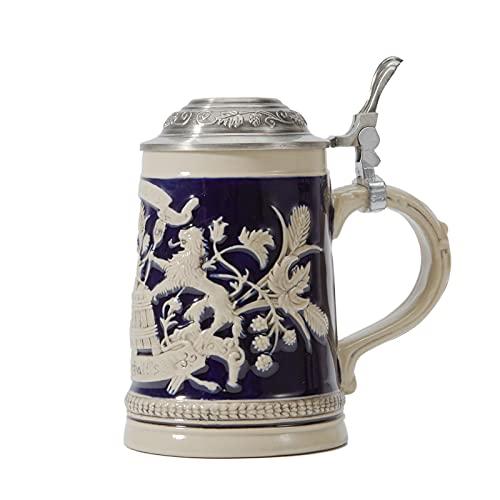 Amoy-Art Boccale da Birra con Coperchio Tedesco Germania Lo Stemma della Baviera Stein Mug per Compleanno Regalo Uomini Padre Marito 0.6Litre