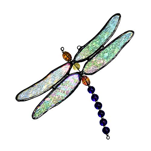 Dragonfly Ornament Stained Glass Sun Catcher Window Hanging Decor Display Gift for Gardener ORN 112