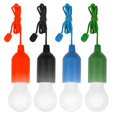 Lámpara decorativa portátil de 4 bombillas LED con cuerda colgante para la habitación de los niños al aire libre (rojo, negro, azul, verde, con luz blanca) luces LED de garaje