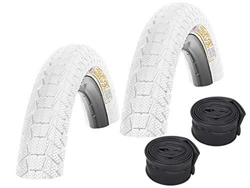 KENDA Set: 2 x Fahrrad BMX Reifen farbig K907 Krackpot Weiss 20x1.95 + 2 SCHLÄUCHE Autoventil