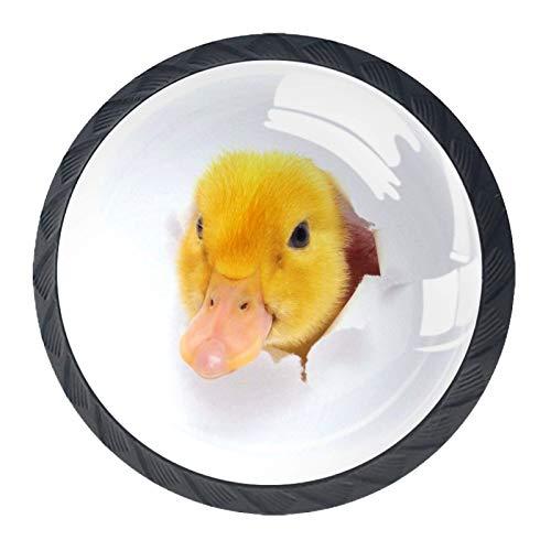 Pomos de Negro Cristal Animal lindo pato RedondoTiradores de Muebles 4 Piezas 35mm Hecho a Mano Pomos para Alacena Baño Cocina Gabinetes Pomos Para Armarios Infantiles
