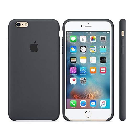Funda Apple para iPhone 6 iPhone 6s Carcasa Protectora con Logo Original Silicona Suave Gel Protector Ultrafino Textura Antideslizante protección contra Golpes, arañazos y caídas (Negro)