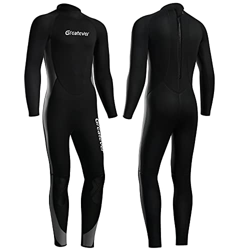 Greatever 2021 Newest Wetsuit Men 3mm Neoprene Full Body Diving Suit Keep Warm Long Sleeve Back Zip Full Scuba Diving Suit UV Protection for Surfing...