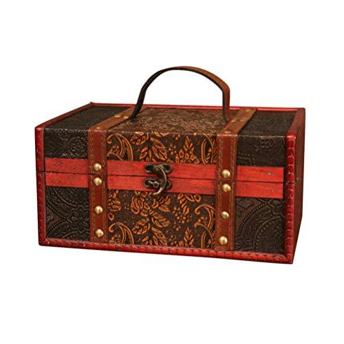 TOPBATHY Caja de Tesoro de Madera Antigua Cajas de Recuerdo Vintage Baúl de Almacenamiento Decorativo Cofre Medieval Organizador con Cierre Chino Tradicional Y Mango Estilo 2