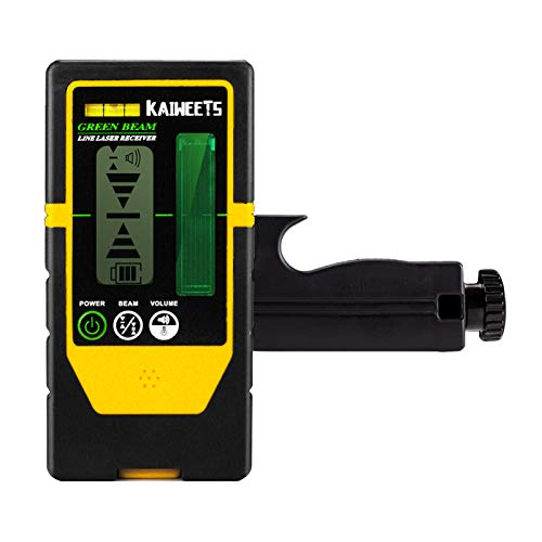KAIWEETS Laser Detector Double-sided Receiver LR100G, Working Range Up to 196ft, Adjustable Beeper, with Rod Clamp (only for KAIWEETS KT360A)