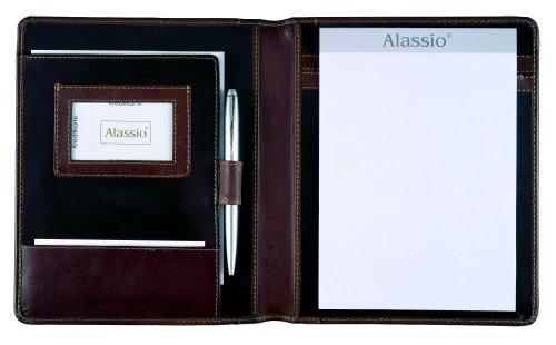 Alassio 30057 - Schreibmappe MONACO im DIN A5 Format, Businessmappe aus planzlich gegerbtem Leder, Dokumentenmappe in dunkelbraun - antik, Mappe ca. 23 x 19 x 2,5 cm