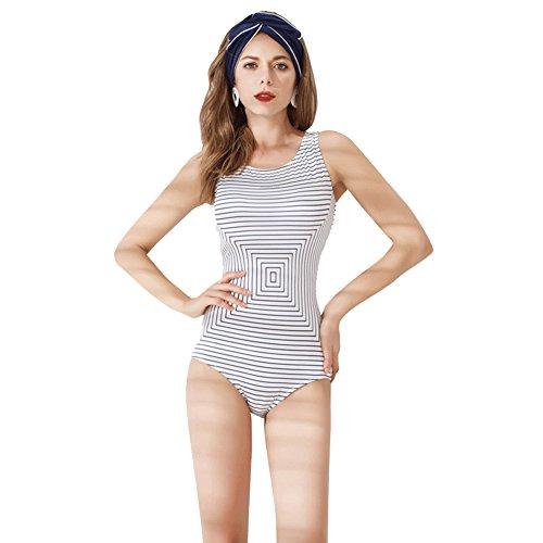 DIMSKLSE Stripe Swimsuit,Backless Professional Sports Triangle Swimwear Beachwear spa Bathing Suit Party Swimwear for Women-White M