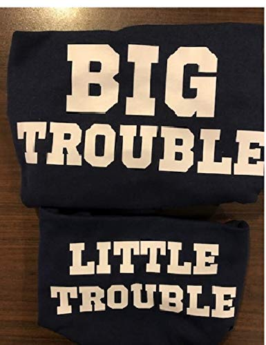 Big Trouble and Little Trouble Dad and Baby Matching t shirt bodysuit onepiece set Christmas gift fathers day gift