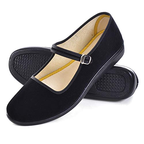 Dear Time Women's Chinese Mary Jane Flat Shoes Round Toe Cloth Walking Exercise Shoes Black US 9.5