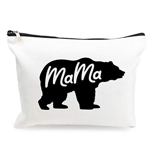 Makeup Cosmetic Bag Womens Mama Bear Earrings Cotton Zipper Pouch Travel Bag Toiletry Make-Up Case for Mom Mother's Day Christmas Birthday Gifts