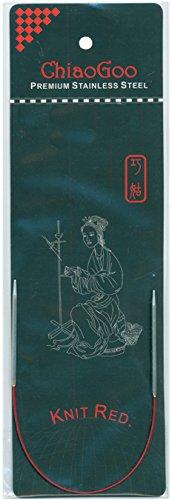 CHIAOGOO 9-Inch Red Line Circular Knitting Needles, 1.5/2.5mm