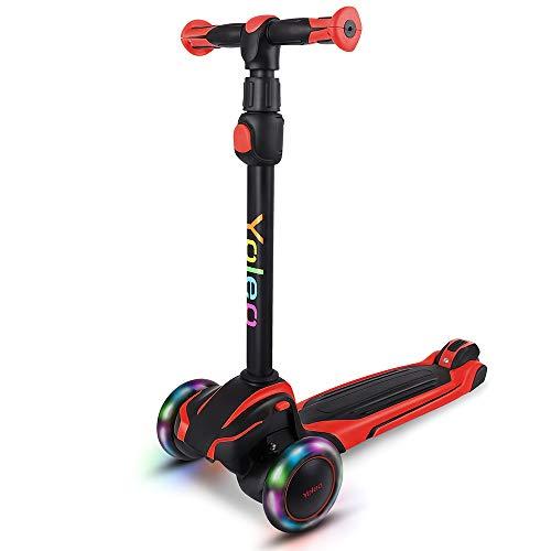 YOLEO Kinder Roller ab 3 Jahre, Kinderscooter mit LED Leuchtenden Räder, Dreiradscooter 4 Höhenverstellbare für Jungen & Mädchen im Alter von 3-12 Jahren, Rot