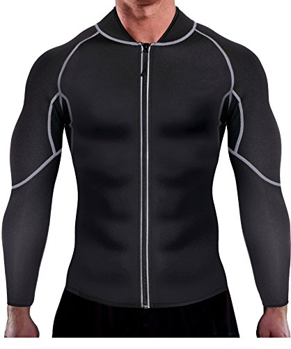 Ursexyly Men Exercise Sweat Hot Dress Shirt Sauna Suit Neoprene Slimming Fitness Jacket Gym Wear for Core Muscle Training Black Exercise Shirt M