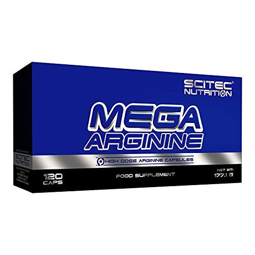 MEGA ARGININE 120 Cápsulas | L-arginina | Refuerzo de óxido nítrico | Crecimiento y bombeo de masa muscular | Complemento alimenticio pre-entrenamiento