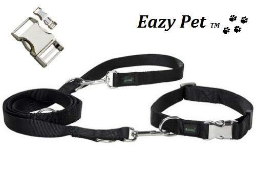 Bulldogge Hundehalsband und Leine, wetterfest, strapazierfähig, Schwarz und Chrom mit seitlicher Schnellverschluss-Schnalle
