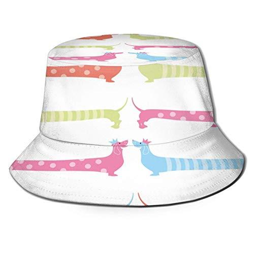Color Largo Patrón de Dachshund Sombrero de Cubo Unisex Gorra de Verano al Aire Libre Sombreros de Sol Plegables para Senderismo Deportes de Playa Negro