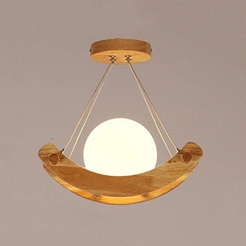 ztleuchte moderne suspension Leuchten Rétro rond haenge Lampe bois verre 220 V lumière décorative créatifs pour enfants Chambre Café Cuisine Bar esssaal Restaurants E27 × 1, Ø 32 cm
