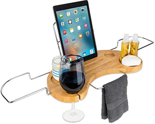 OLIVIA & AIDEN Luxury Bathtub Caddy Tray (Bamboo) Expandable Organizer w/Detachable Tablet Backrest, Wine Glass Holder, Smartphone Holder | Portable Spa Comfort