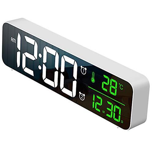 Cobeky Reloj despertador digital, detección de temperatura, 40 tonos de alarma, volumen y brillo ajustable, reloj despertador para dormitorios blanco
