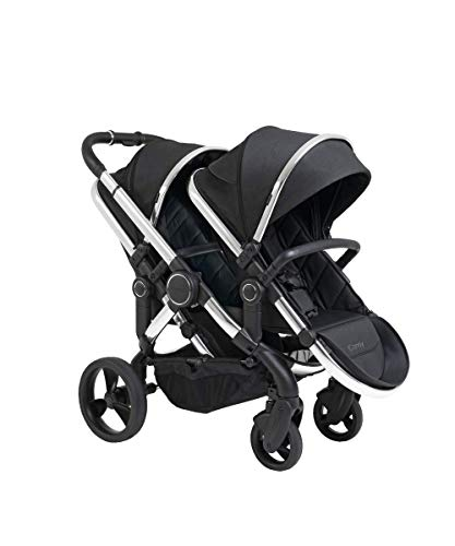 Icandy Peach Twill Pushchair & Carrycot Double IC2287, Chrome Black