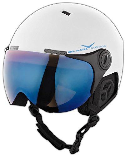 BLACK CREVICE Erwachsenen Skihelm im Pilotenstyle mit zusätzlichem orangem Wechselvisier, White/Blue