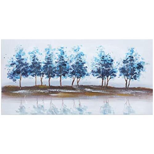Pinturas de lienzo de árboles abstractos para decoración del hogar Color azul Naturaleza Paisaje Arte de la pared Carteles e impresiones para sala de estar Pared 50x100cm (19.6x39.3in) Con marco