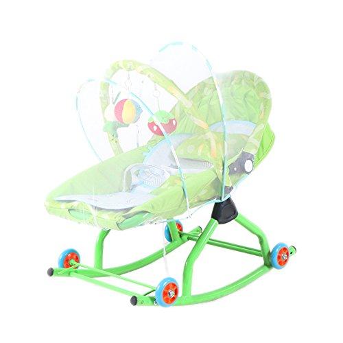Guo Balance Prahler Baby Schaukelstuhl Comfort Recliners Multifunktions-Cradle-Bett mit Rädern und Moskitonetz drückbar (Farbe : Green)