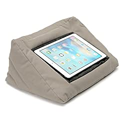 Simple, inexpensive pillow to hold tabs, ereaders and books at an angle - doubles as head-pillow