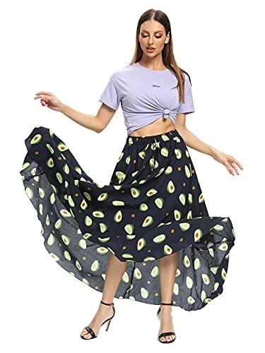 Aeslech Faldas largas para mujer, faldas largas de verano con cintura elástica floral vestido de playa para mujer M