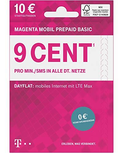 Telekom MagentaMobil Prepaid Basic SIM-Karte ohne Vertragsbindung I 9 Ct pro Min und SMS in alle dt. Netze, EU-Roaming I Dayflat für Highspeed-Surfen mit LTE Max (1,49 EUR/24h) I 10E UR Startguthaben