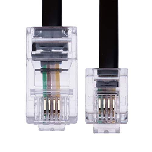 2m RJ11 bis RJ45 Kabel Ethernet-Modem-Daten-Telefon ASDL Patch Führen Breitband Schnelle Geschwindigkeit BT Internet-Stecker 6P4C bis 8P8C Eben Kompatibel mit Modem, Router, Festnetz (Schwarz)