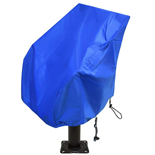 Boat Seat Cover Heavy Duty Oxford Fabric, Captain's Chair Cover Weather Resistant 420D Waterproof, Boat Bench Chair Seat Cover ,Full Length Protection for Your Helm Chair Protective Cover (Blue)