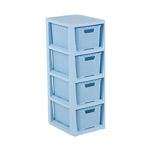 BranQ - Home essential Regal in Rattan Design, Blau, 4 Körben