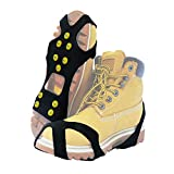 TENSPAL Crampons Traction Ice Cleats Grippers Shoe Ice Snow Grips Slip-on Stretch Footwear for Hiking Walking Climbing Fishing Jogging with 10 Steel Studs Anti-Slip Microspikes Stainless Steel Spikes