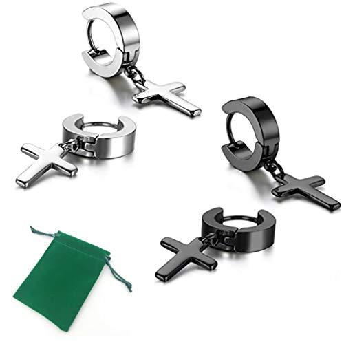 Voarge Juego de 2 pares de pendientes de cruz, para hombre y mujer, de acero inoxidable, colgante de cruz del año (plata, negro).