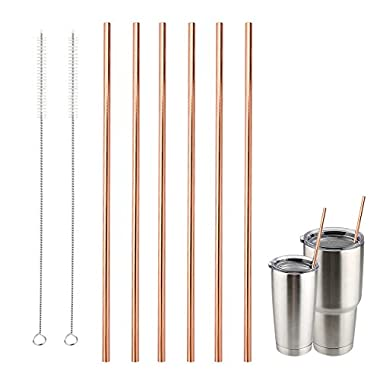 Accmor Reusable Copper Drinking Straws, 18/8 Stainless Steel 10.5inch Extra Long Straight Straws Set of 6, for 20 & 30oz YETI RTIC Ozark TERVIS Tumbler Cups, with 2 Cleaning Brushes