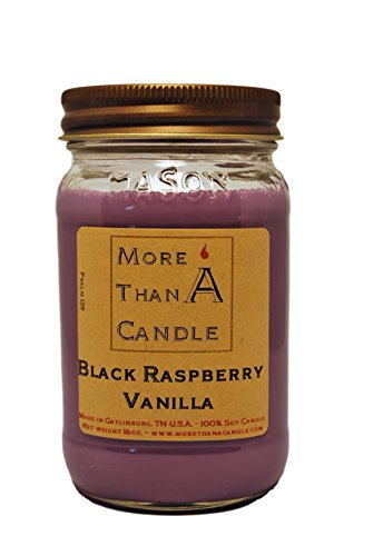 More Than A Candle - 16 oz Mason Jar Soy Candle - Made in The USA Black Raspberry Vanilla