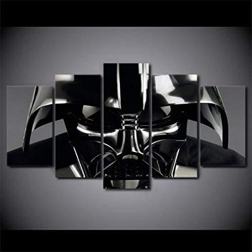 TTRRAA DecoracióN De Arte De Pared 5 Piezas Imprime En Lienzo Película de Star Wars Darth Vader Hd Cuadro Lienzos, DecoracióN De La Sala De Estar Del Hogar 100×55cm,Listo Para Colgar(Con Marco)