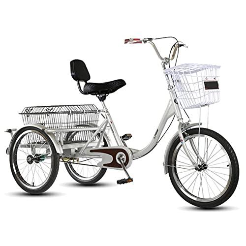Triclos Adultos Trikes para Adultos Bicicletas De Crucero De Tres Ruedas con Carro, para Recreación, Compras, Ejercicio (Color : Red)