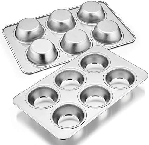 Muffin Pan Set of 2 E far Stainless Steel Muffin Pan Tin for Baking 6 Cup Metal Cupcake Pan product image