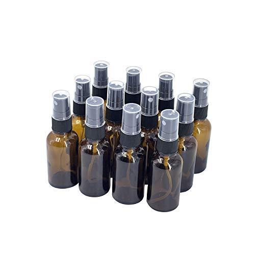 12 botellas de spray de cristal vacías de 30 ml, para perfumes, aceites y fijadores (marrón)