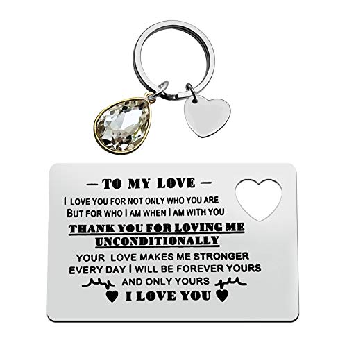 Valentine's Day Jewelry Anniversary Card Gifts Boyfriend Girlfriend Jewelry Gift Engraved Wallet Inserts Card Keychain Set for Wife Husband Couple Gift Deployment Gifts Birthday Wedding Gift