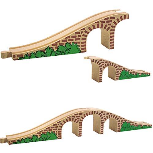 Set: Holz - Brücke - 2 Schienen - für Holzeisenbahn - passend für alle Schienen-Systeme & Straßen - z.B. Brio / Heros / Eichhorn / IKEA / Woody u.v.m. - Holzb..