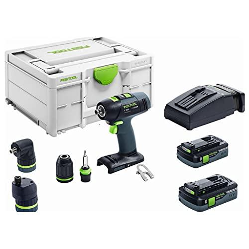 Festool Taladro atornillador inalámbrico T18+3 HPC4,0 I-Set 576989, 2 baterías TCL 6 SYS3 M 187