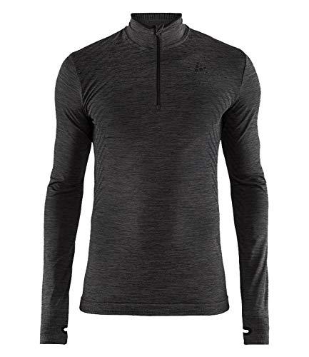 Craft Fuseknit Comfort col zippé Homme Maillot de Running, Noir chiné, FR : M (Taille Fabricant : C: M)