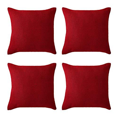 Deconovo Fodere Cuscini Divano Quadrate Copricuscino in Lino Decorative Moderno con Cerniera Invisibile 45x45cm Rosso 4 Pezzi
