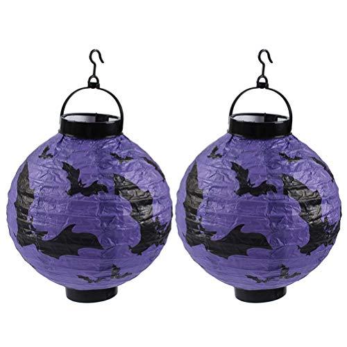 Protección del entorno de seguridad. 2 piezas de Halloween que brilla Bat linterna LED plegable de papel Linterna portátil horror fantasma púrpura del palo de la lámpara Festival Ambiente Prop - Bater