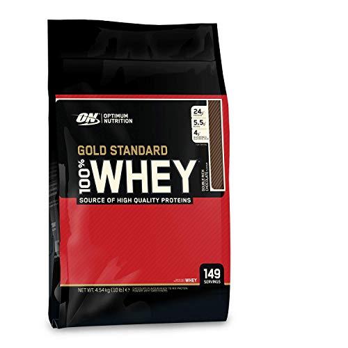 Optimum Nutrition ON Gold Standard 100% Whey Proteína en Polvo Suplementos Deportivos, Glutamina y Aminoacidos, BCAA, Double Rich Chocolate, 146 porciones, 4.53 kg, Embalaje puede variar